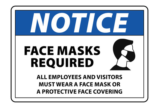 notice face mask required sign vector label