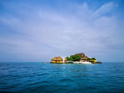 BARU, CARTAGENA, COLOMBIA - NOVEMBER 09, 2019: View on paradise beach on Island Baru by Cartagena in Colombia.