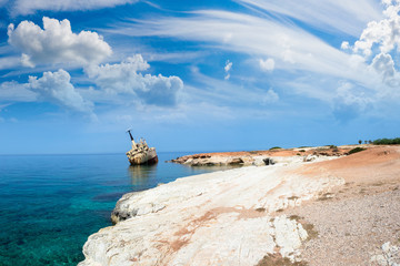 Poster Naufrage Cyprus beach. White stone. A stranded ship off the coast of Cypr
