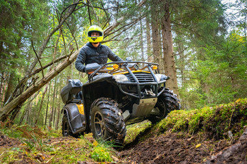 Fototapeten Schokobraun A man in a yellow helmet rides a Quad bike through the woods. Quad bike on a forest road. Journey through the forest on a Quad bike. Sale and rental of ATVs. Driving on bad roads.
