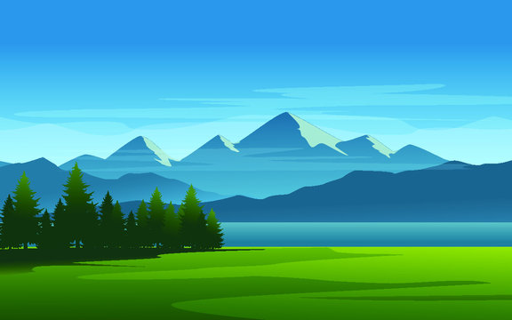 landscape with mountains and pine tree