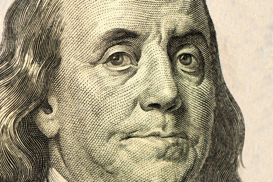 High definition Benjamin Franklin portrait from 100 dollars
