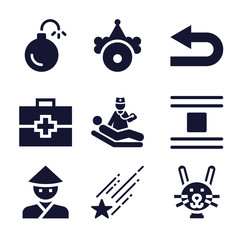Set of 9 ill filled icons