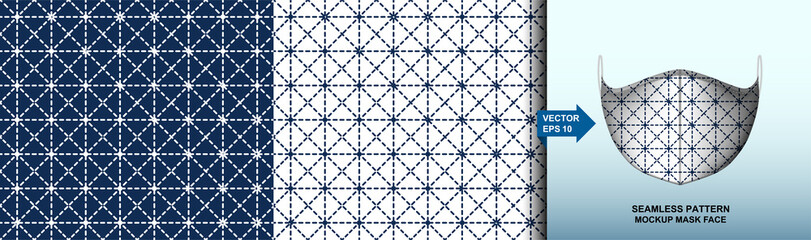 Abstract . Sashiko seamless pattern. line indigo and white background. design for pillow, print, fashion, clothing, fabric, gift wrap. mockup template mask face seamless pattern. Vector.