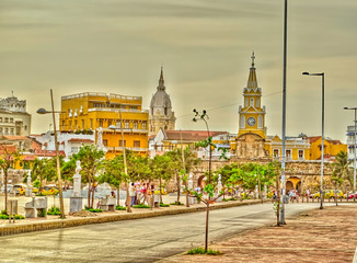 Wall Mural - Cartagena, Colombia: Colonial center, HDR Image