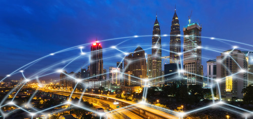 Wall Mural - Smart Network and Connection city of Malaysia