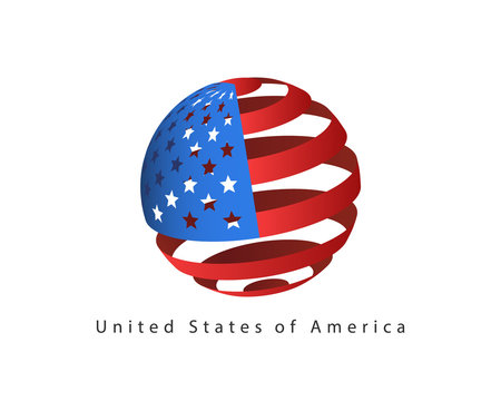 USA flag style vector design element. Logo template United States of America.