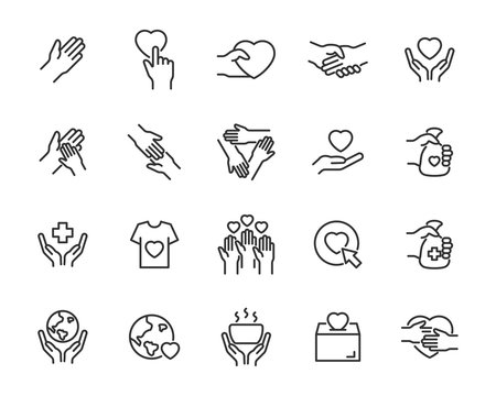 set of charity icons, donate, volunteer, save the world