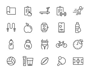 set of fitness icons, healhty, gym, diet, sport