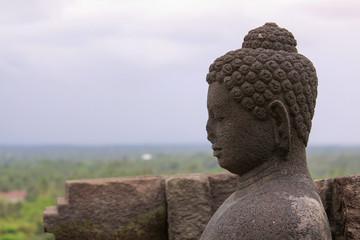 Side Buddha meditation in stupa at Borobudur, Java