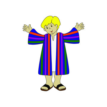 Hand-drawn pictures of children. A boy in colorful clothes.