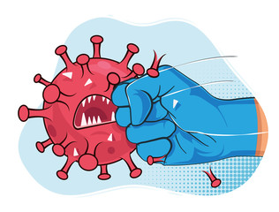 Fight coronavirus. Strong arm in blue medical protective glove punching and crash covid-19 virus bacteria mascot. Vector illustration.