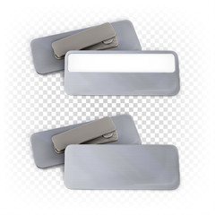 Rectangular badge on a magnet with and without a frame for signature. Mockup of metallic silver badge for corporate companies, person identification. Vector template isolated on white.