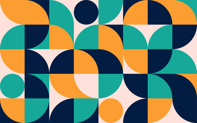 Geometric minimalistic color composition template with shapes. Scandinavian abstract pattern for web banner, packaging, branding.