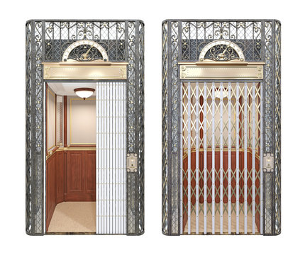Antique vintage elevator with forged decorative elements with open and closed latticed door. Front view . 3d illustration isolated on white background.