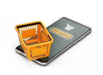 Keuken foto achterwand Honden Orange Shopping Basket on smartphone isolated on white - Online Shopping Concept . 3d Rendering