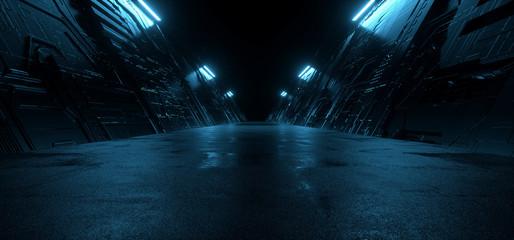 Neon Blue Dark Metal Schematic Textured Alien Spaceship Warehouse Tunnel Corridor Hallway Triangle Shaped Empty Rough Cement Concrete Asphalt Background 3D Rendering Fotomurales