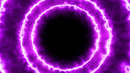 Dynamic abstract tunnel. Circles of purple radiance are moving