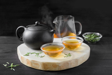 chinese traditional tea ceremony on black background