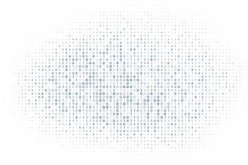 white digital matrix of binary code numbers background