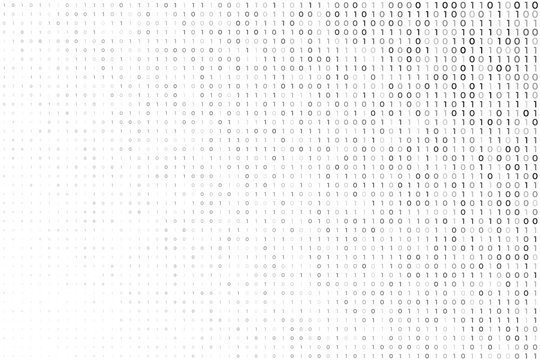 digital white background with binary code numbers