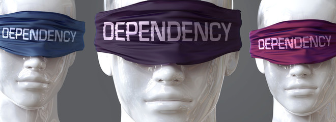 Dependency can blind our views and limit perspective - pictured as word Dependency on eyes to symbolize that Dependency can distort perception of the world, 3d illustration