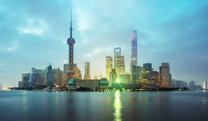Fototapete - Shanghai skyline in sunrise time, China