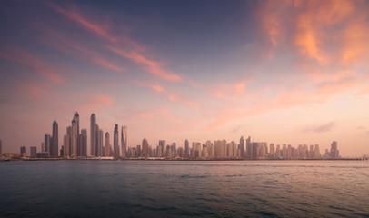 Foto En Lienzo - skyscrapers in Dubai Marina, sunset time, UAE