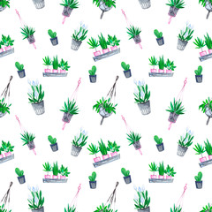 Watercolor seamless pattern with indoor plants in pots and flower pots. Perfect for packaging, wallpaper, wrapping paper, textiles.