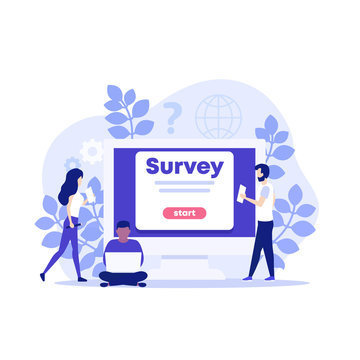 online survey vector illustration with people