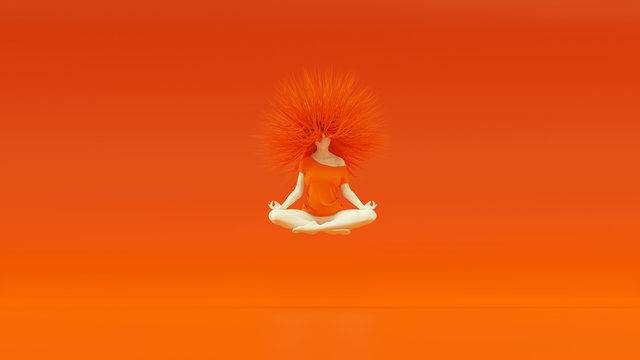 Floating Female in a Yoga Pose Sitting Crossed Legs Sukhasana White Orange with Bright Orange Mad Hair 3d Illustration 3d render