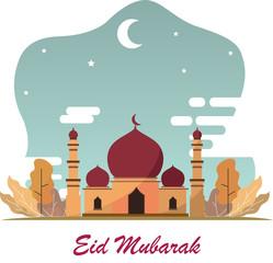 Eid mubarak flat design