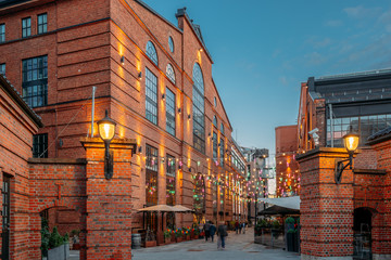 Fotomurales - Oslo, Norway. Residential Multi-storey Houses In Aker Brygge District In Summer Evening. Famous And Popular Place