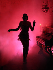 Printed kitchen splashbacks Dance School Dark silhouette in red smoke style retro woman. Girl dancing in vintage dress