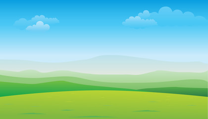 Keuken foto achterwand Lime groen Green hill landscape. Vector illustration of panorama view with green mountain landscape and blue sky.