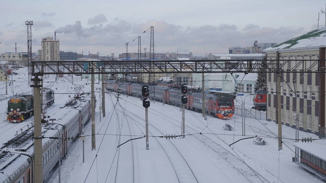 BARNAUL - JANUARY 21 train station and departing trains in winteron January 21, 2020 in Barnaul, Russia