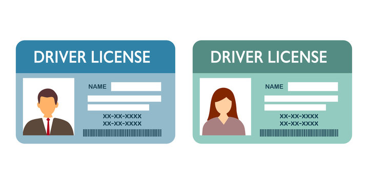 Renew driver license concept vector illustration on white background. Two driver licenses of man and woman in flat design. Identity card.