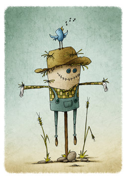 Smiling cute scarecrow in field. stones on the ground and a bird chirping on top of the hat. Autumn harvest theme.