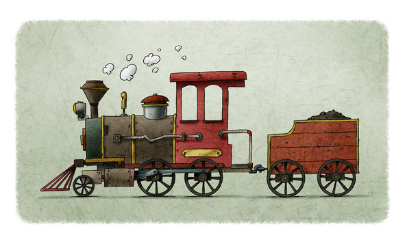 Very colorful cartoon illustration of a fun and old steam train