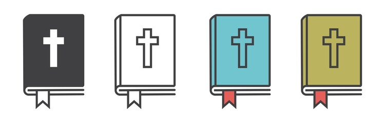 Fototapeta Christian bible icon vector, bible symbol in line style, book vector different style vector illustration. obraz
