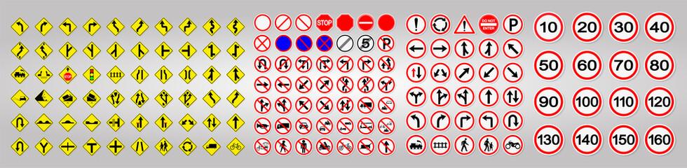 Set WarningTraffic Signs,Prohibition,Warning Red circle Symbol Sign Wall mural
