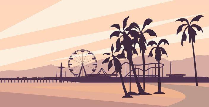 Santa monica, California  landscape vector illustration.