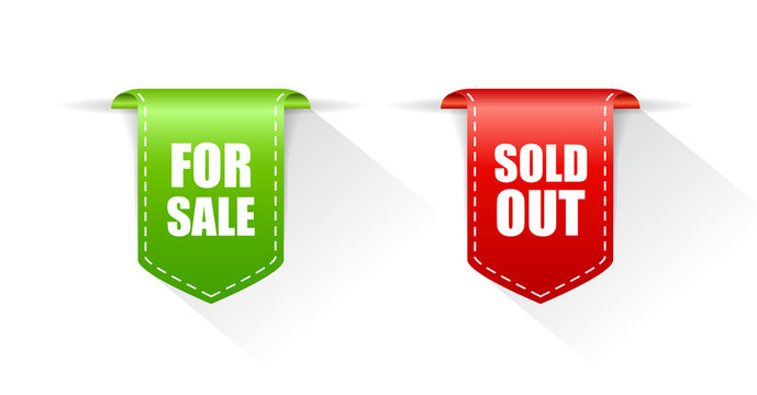 Sale tags, for sale and sold out icon
