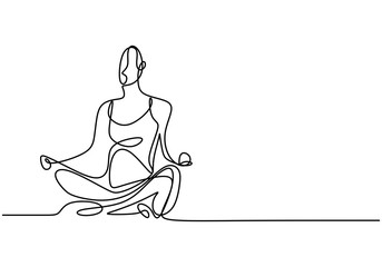 Woman doing yoga exercise continuous one line vector illustration minimalism style. Yoga girl sitting cross legged meditating. Lotus pose line drawing. Relaxing and calming.