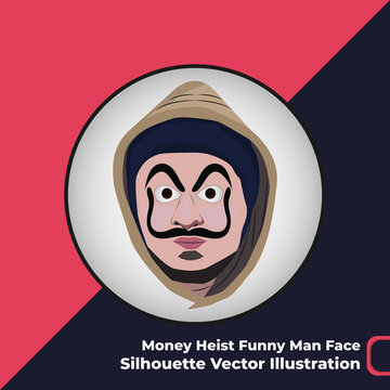 La Casa De Papel Money Heist Funny Man Face Silhouette Vector Illustration