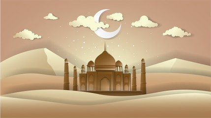 ramadhan kareem and eid mubarak, greeting card islamic, paper art vector eps 10.