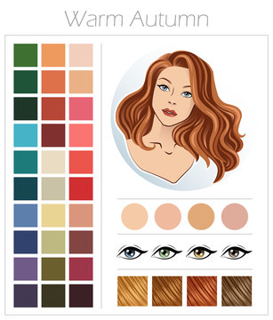Warm autumn. Color type of appearance of women. With a palette of colors suitable for this type of appearance.