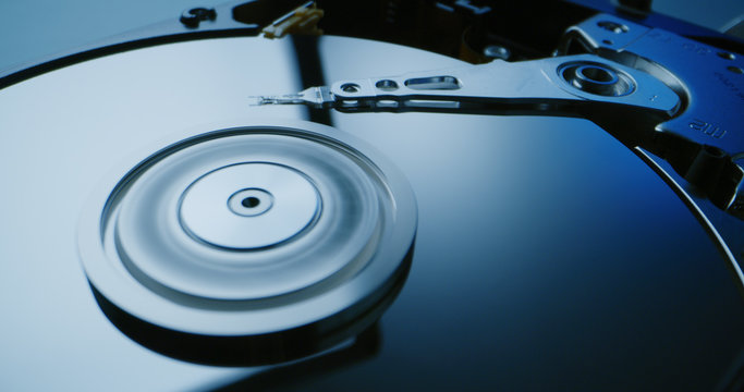 Interior of a hard disk drive