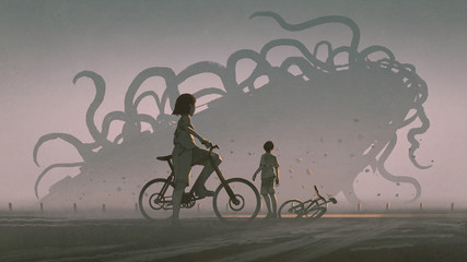 Foto op Aluminium Grandfailure boy and girl looking at giant alien monster at the horizon, digital art style, illustration painting