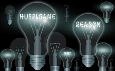 Word writing text Hurricane Season. Business photo showcasing time when most tropical cyclones are expected to develop